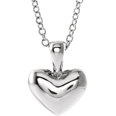 "10MM Heart Charm on 15"" Cable Chain - 14K White Gold"