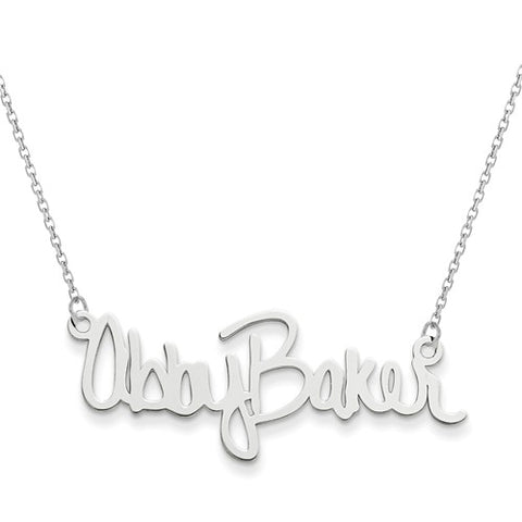 "38x10MM Signature Nameplate on 18"" Chain - Sterling Silver"