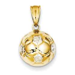 12MM Soccer Ball Charm - 14K Yellow and White Gold