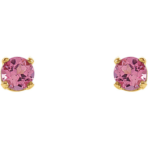 "3MM Tourmaline ""October"" Stud Earrings - 14K Yellow Gold"
