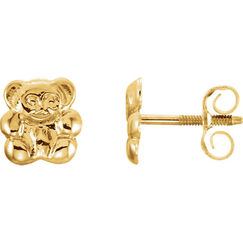 7MM Teddy Bear Stud Earrings in 14K Yellow Gold