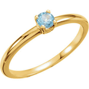"3MM Blue Topaz ""December"" Ring Size 3 - 14K Yellow Gold"