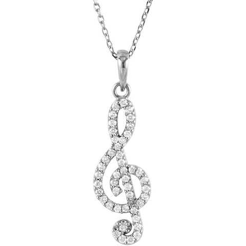 "27MM Diamond Treble Clef Music Note Charm on 16"" Chain - 14K White Gold"