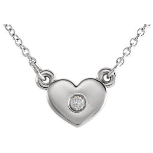 "7MM Heart Diamond 16"" Necklace - 14K White Gold"