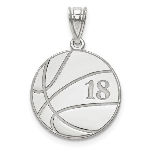 27MM Custom Basketball Charm - 14K White Gold