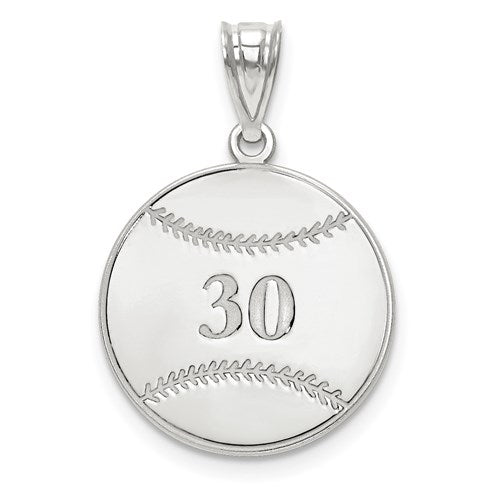 27MM Custom Baseball Charm - Sterling Silver
