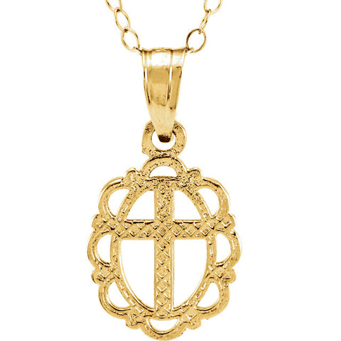 "12MM Oval Cross Charm on 15"" Cable Chain - 14K Yellow Gold"