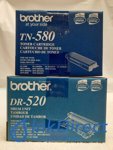 1 Each Genuine Brother TN580 TN-580 DR520 DR-520 Toner and Drum Cartridge 5240 5250 8060 8065 8460 8860 Toner Cartridge