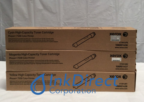 1 Set 106R01436 106R01437 106R01438 Phaser 7500 Toner Cartridge Cyan Magenta Yellow Toner Cartridge , Xerox-Tektronix - Laser Printer Phaser 7500DN, 7500DT, 7500DX, 7500N