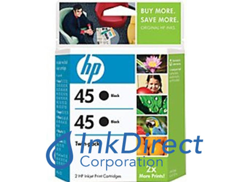 ( Expired ) Genuine Hp C6650Fn Hp 45 ( 51645A ) Twin Pack Ink Jet Cartridge Black Ink Jet Cartridge