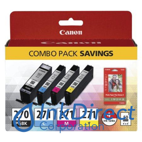 Genuine Canon 0373C005Ab Pgi-270 / Cli-271 Cmy W/ Paper Ink Jet Cartridge 4-Color