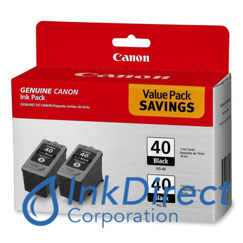 Genuine Canon 0615B013Aa Pg-40 Twin Pack Ink Tank Black