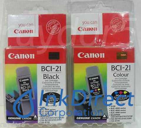 Genuine Canon 0954A370Aa Bci-21Bk Twin Pack Ink Jet Cartridge Black