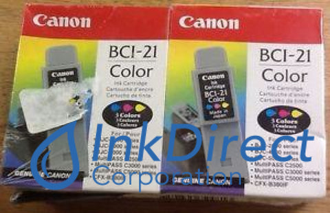 Genuine Canon 0955A349Aa Bci-21C Twin Pack Ink Jet Cartridge Color