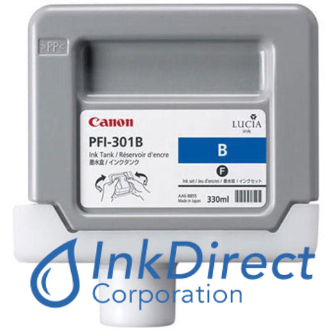 Genuine Canon 1494B001Aa Pfi-301B Ink Jet Cartridge Blue