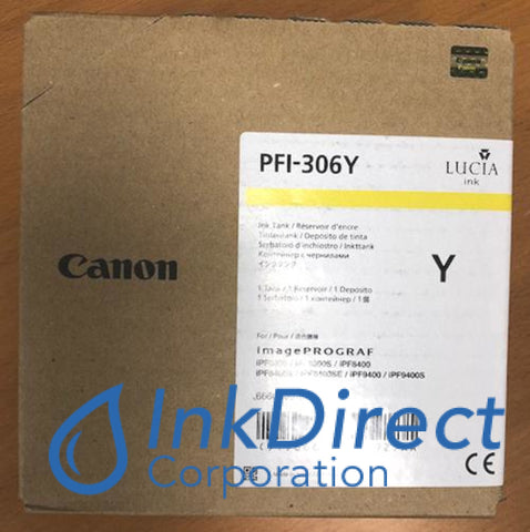 Genuine Canon 6660B001Aa Pfi-306Y Ink Tank Yellow