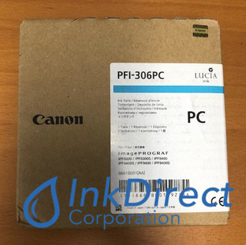 Genuine Canon 6661B001Aa Pfi-306Pc Ink Tank Photo Cyan