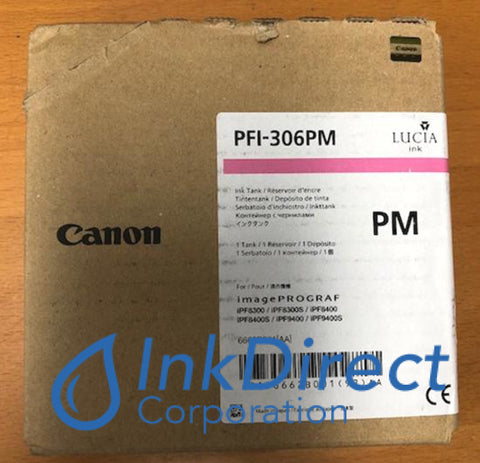 Genuine Canon 6662B001Aa Pfi-306Pm Ink Tank Photo Magenta