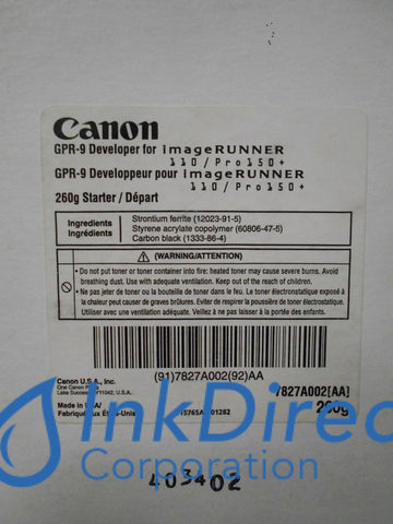 Genuine Canon 7827A002Aa Gpr-9 Developer / Starter Black