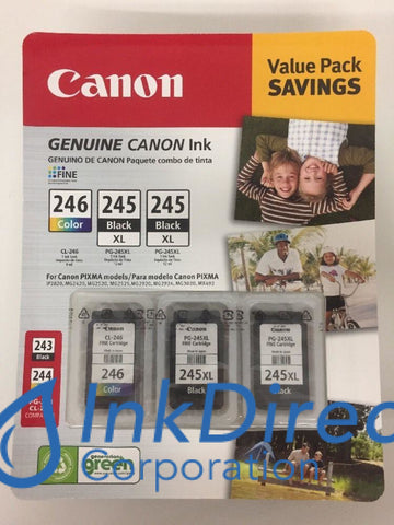 Genuine Canon 8278B009Aa 2 * Pg-245Xl/cl-246Xl Ink Jet Cartridge Black & Color