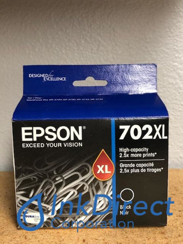 Genuine Epson T702XL120 702XL High Yield Ink Jet Cartridge Black WorkForce 3720 Ink Jet Cartridge , Epson   - All-in-One  Workforce Pro WF-3720,  WF-3730,  WF-3733