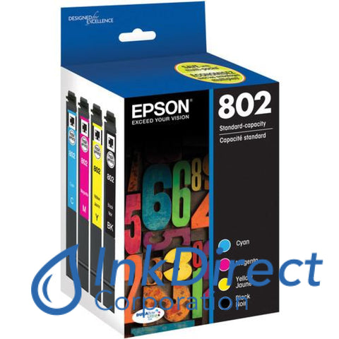 Genuine Epson T802120-Bcs 802 Bcmy Ink Jet Cartridge 4-Color