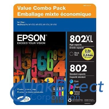 Genuine Epson T802Xlbcssvh T802Xl- Bcs-Svh T802Xl Black T802 Cyan Magenta Yellow Ink Jet Cartridge 4-Color Ink Jet Cartridge
