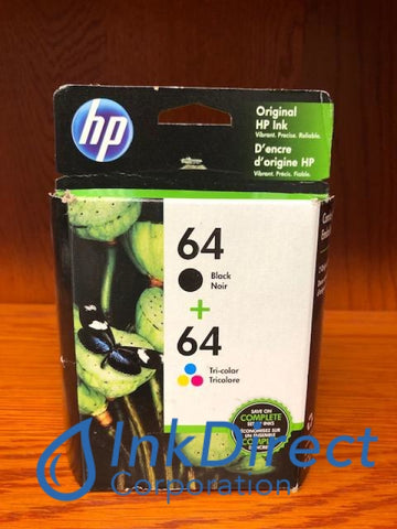 HP X4D92AN 64 Combo Pack Ink Jet Cartridge Black & Color ( N9J90AN N9J89AN ) Ink Jet Cartridge , HP   - Photo Printer  ENVY Photo 6255,  Photo 7155,  Photo 7855