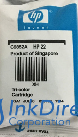 No Box - Genuine Hp C9352An 22 Ink Jet Cartridge Tri-Color