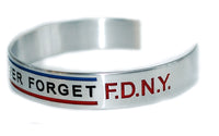 N.Y.P.D. 9/11 Never Forget F.D.N.Y. with Thin Blue Blue and Red Lines Handmade Bracelet