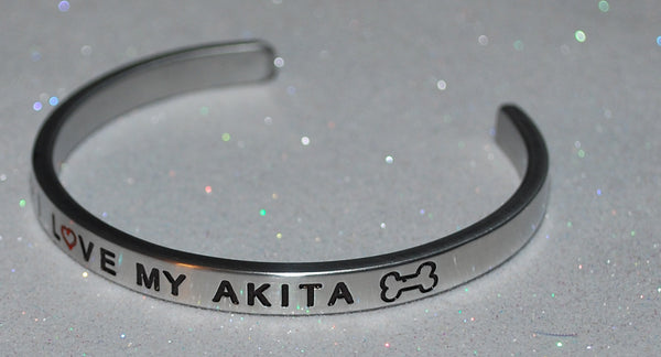 I Love My Akita  |  Engraved Handmade Bracelet by: Say It and Wear It Jewelry - #love