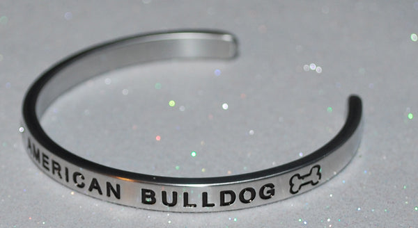 I Love My American Bulldog  |  Engraved Handmade Bracelet by: Say It and Wear It Jewelry - #love