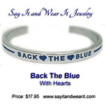 Back The Blue with Thin Blue Lines and Hearts Bracelet
