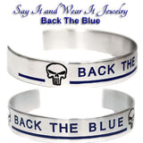 Back The Blue Bracelet with Punisher Skull and Thin Blue Line