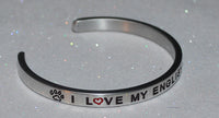 I Love My English Setter  |  Engraved Handmade Bracelet by: Say It and Wear It Jewelry - #love