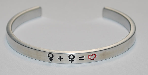 Female Gay Symbols | Engraved Handmade Bracelet by: Say It and Wear It Jewelry Say It and Wear It