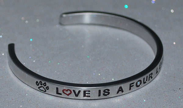 Love Is A Four Legged Word    |  Engraved Handmade Bracelet by: Say It and Wear It Jewelry - #love