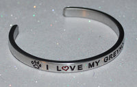 I Love My Greyhound   |  Engraved Handmade Bracelet by: Say It and Wear It Jewelry - #love