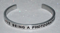 I Love Being A Photographer  |  Engraved Handmade Bracelet by: Say It and Wear It Jewelry - #love