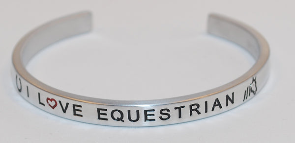 I Love Equestrian  |  Engraved Handmade Bracelet by: Say It and Wear It Jewelry - #love