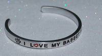 I Love My Basset Hound   |  Engraved Handmade Bracelet by: Say It and Wear It Jewelry - #love