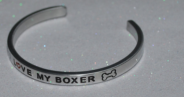 I Love My Boxer   |  Engraved Handmade Bracelet by: Say It and Wear It Jewelry - #love