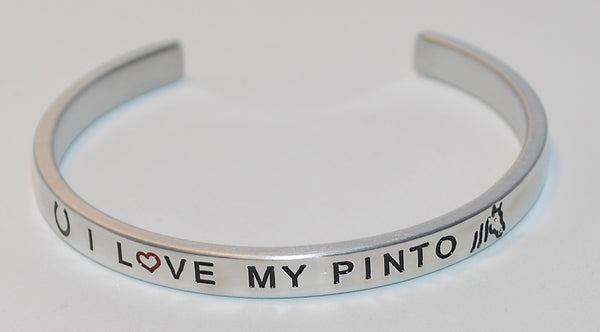 I Love My Pinto  |  Engraved Handmade Bracelet by: Say It and Wear It Jewelry - #love