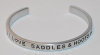 I Love Saddles & Hoofs  |  Engraved Handmade Bracelet by: Say It and Wear It Jewelry - #love