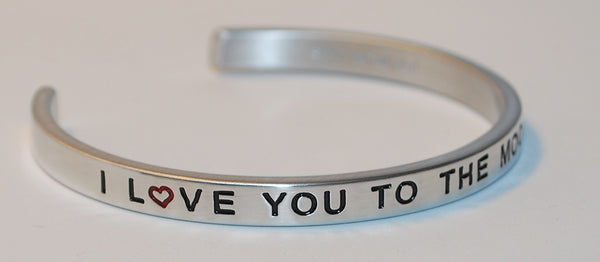 I Love You To The Moon And Back w/heart  |  Engraved Handmade Bracelet by: Say It and Wear It Jewelry - #love