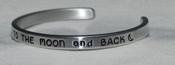 I Love You To The Moon and Back With Moon  |  Engraved Handmade Bracelet - #love