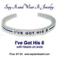 I've Got His 6 with Thin Blue Lines and Hearts Bracelet