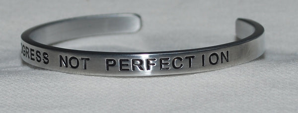 Progress Not Perfection  |  Engraved Handmade Bracelet by: Say It and Wear It Jewelry - #love