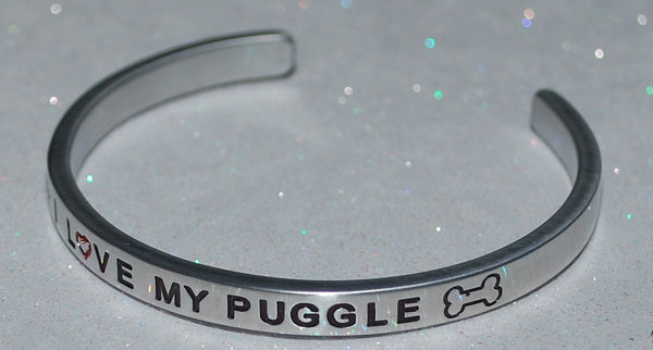 I Love My Puggle   |  Engraved Handmade Bracelet by: Say It and Wear It Jewelry - #love
