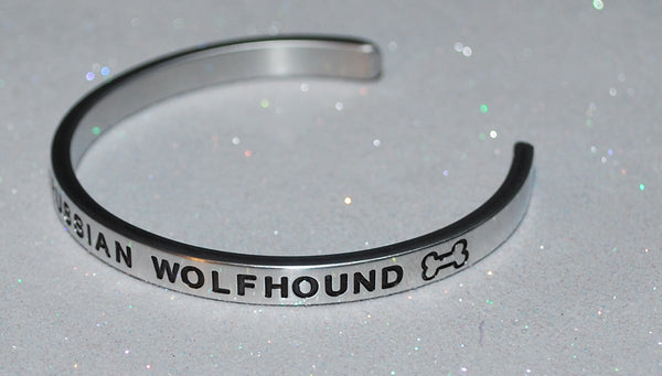 I Love My Russian Wolfhound   |  Engraved Handmade Bracelet by: Say It and Wear It Jewelry - #love